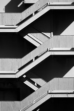 Fine Art Modern Stairway Pattern - Black And White