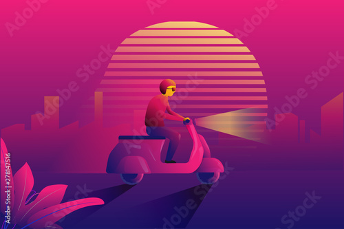 Retro 80's poster and web banner concept  The man ride a