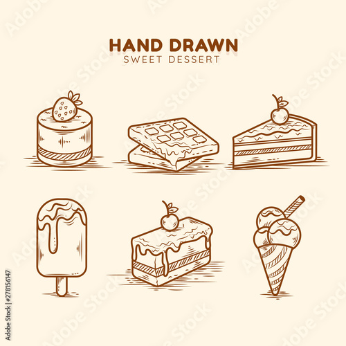Photo  Vector Collection of Desserts with Cake, cupcake, sweet roll, ice cream, dessert in glass, cherry pie, cheesecake