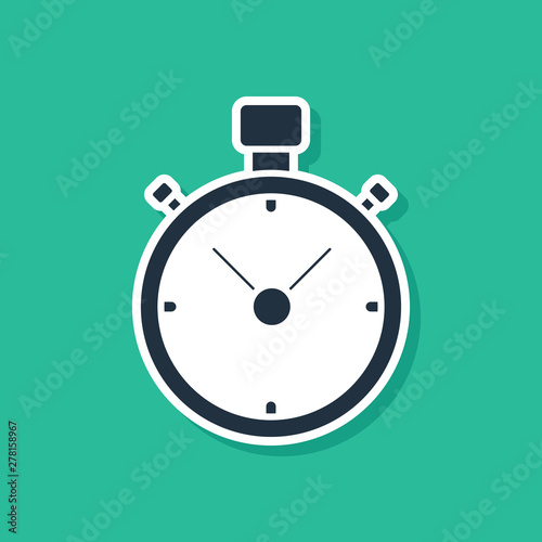 Blue Stopwatch icon isolated on green background. Time timer sign. Chronometer sign. Vector Illustration
