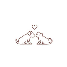Kitten Kisses Puppy Logo Or Icon. Friendship Of The Species. Love And Heart. Cat And Dog When Seated. Outline Contour Line Vector Illustration.