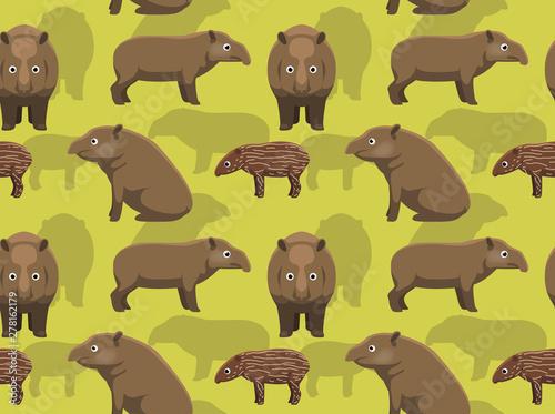 Fotografía Lowland Tapir Cartoon Background Seamless Wallpaper