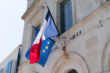 French And EU European Union Flags On The City Hall