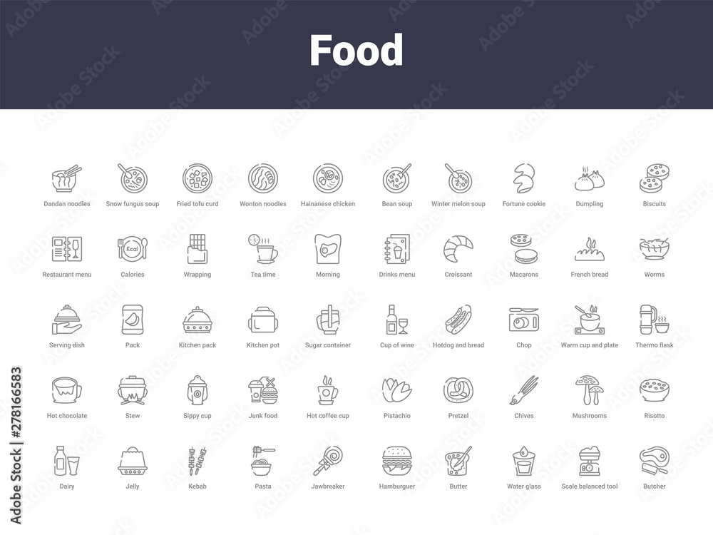 Fototapety, obrazy: food outline icons