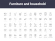 furniture and household outline icons