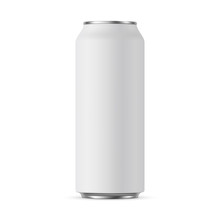 Aluminium Can Mockup 500 Ml, Isolated On White Background - Front View. Vector Illustration