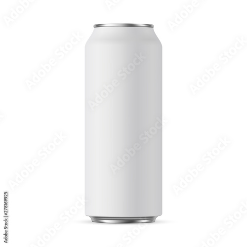 Photo Aluminium can mockup 500 ml, isolated on white background - front view