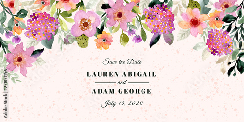 Fototapeta save the date with floral frame watercolor background obraz
