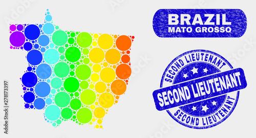 Fotografija  Spectrum dotted Mato Grosso State map and rubber prints