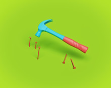 Hammer And Nails. 3d Rendering