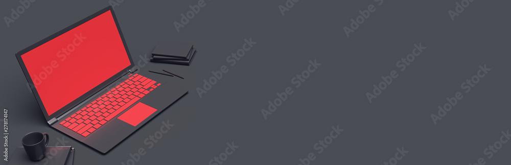 Fototapety, obrazy: laptop on a dark background. 3d rendering