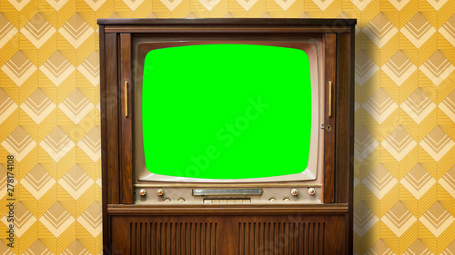 Alter Fernseher mit greenscreen im Bildformat 4K Wallpaper Mural