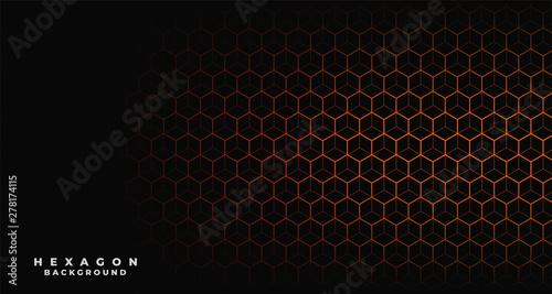 black background with orange hexagonal pattern