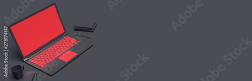 laptop on a dark background. 3d rendering
