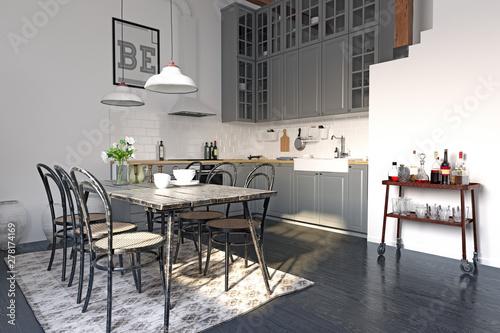 Poster Ouest sauvage modern loft kitchen interior design.