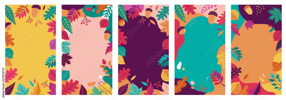 Fototapeta Autumn, fall banners, collection of abstract background designs, fall sale, social media promotional content. Vector illustration