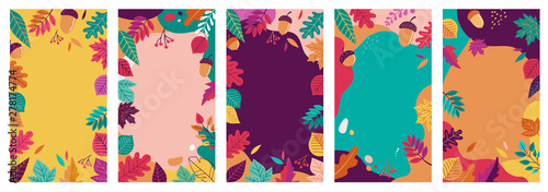 Fototapeta Autumn, fall banners, collection of abstract background designs, fall sale, social media promotional content. Vector illustration obraz