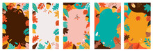 Autumn, Fall Banners, Collection Of Abstract Background Designs, Fall Sale, Social Media Promotional Content. Vector Illustration