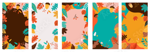 Obraz Autumn, fall banners, collection of abstract background designs, fall sale, social media promotional content. Vector illustration - fototapety do salonu