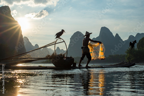 Foto op Canvas Guilin Guilin fisherman