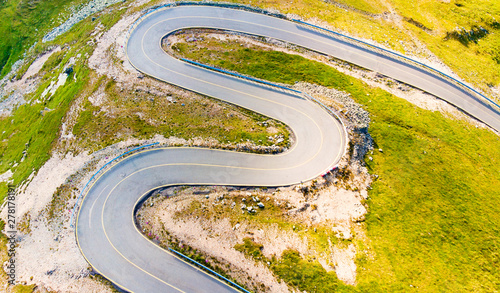 Foto auf Leinwand Honig Curvy road aerial view mountains