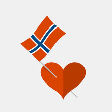 Heart Icon With Norwegian Flag