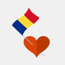 Heart Icon With Romanian Flag