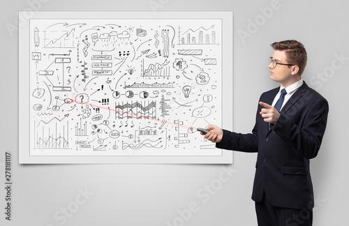 Deurstickers Graffiti collage Professor with laser pointer teaching business theories