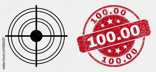 Fotomural Vector line target calendar page pictogram and 100