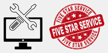 Vector Linear Desktop Options Icon And Five Star Service Stamp. Blue Round Textured Seal Stamp With Five Star Service Text. Black Isolated Desktop Options Icon In Contour Style.