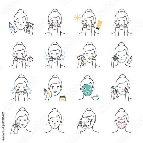 Daily skin care, beauty treatment vector icons set Wall mural