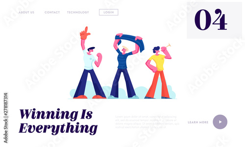 Fototapeta Football Supporter Fans Cheering with Flag and Pipes Watch Soccer Match at Stadium, Friends on Sport World Championship Concept Website Landing Page, Web Page. Cartoon Flat Vector Illustration, Banner obraz na płótnie