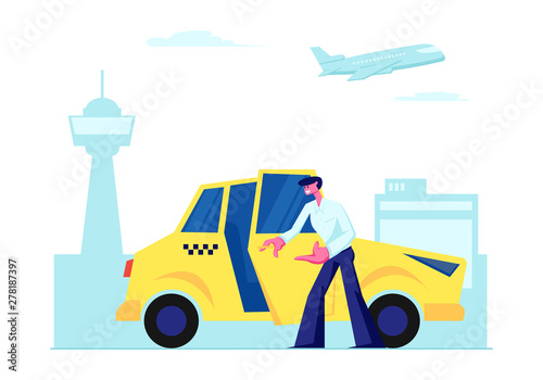 Experienced Taxi Driver Open Car Door Inviting Passenger to Sit on Airport Terminal Background Fototapet