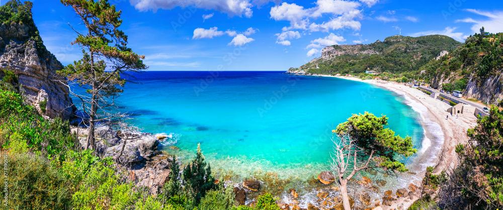 Fototapety, obrazy: Best beaches of Samos island - beautiful Potami near Karlovasi town, Greece