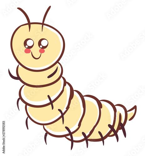 Obraz na płótnie Cute pink centipede, illustration, vector on white background.