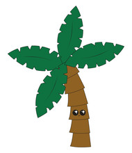 Cute Coconut Tree, Illustration, Vector On White Background.