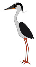 Gray Bird With Long Legs, Illustration, Vector On White Background.