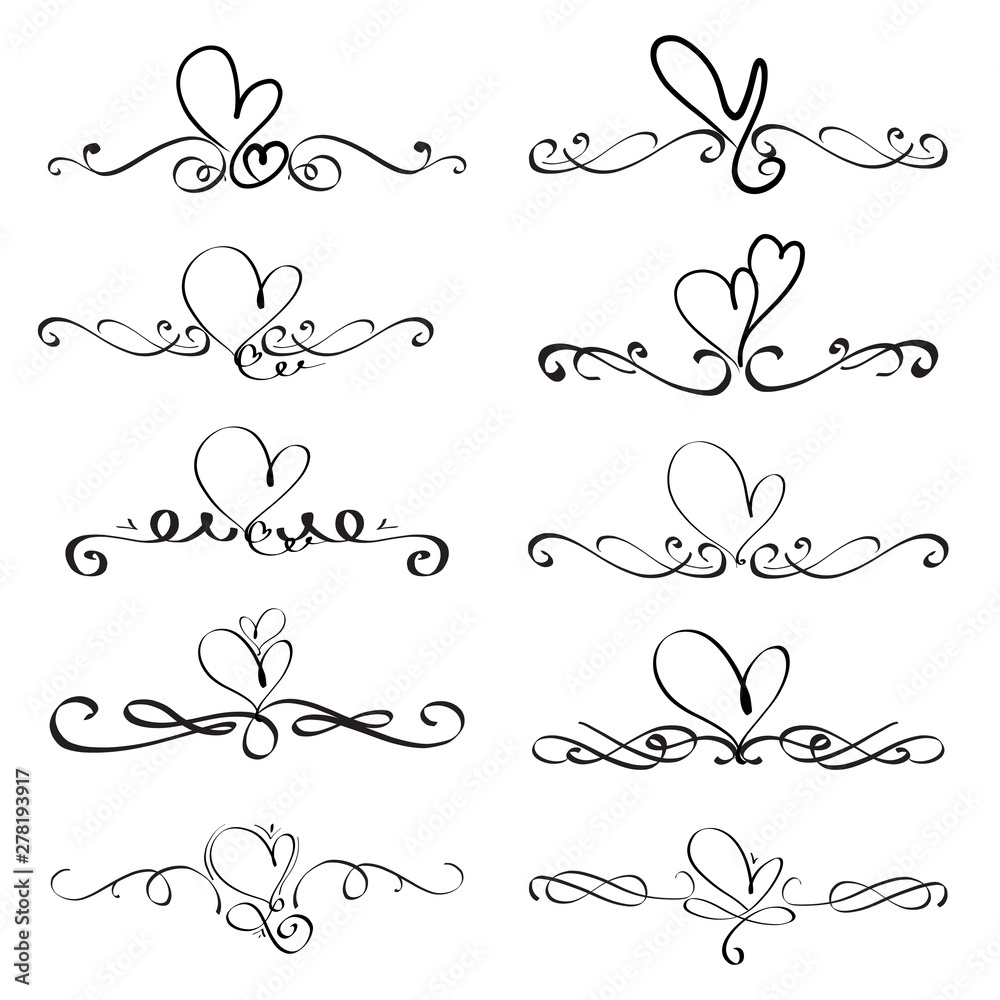 Fototapeta Set Of Heart Decorative Calligraphic Elements For Decoration. Handmade Vector Illustration.