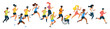 Marathon runners flat vector illustration
