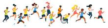 Marathon Runners Flat Vector I...