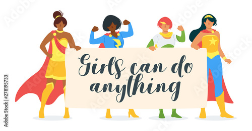 Photo Girls can do anything motivational flat vector banner