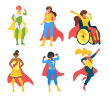 Female Superheroes Flat Vector...
