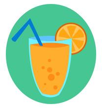 A Glass Of Orange Juice, Illustration, Vector On White Background.