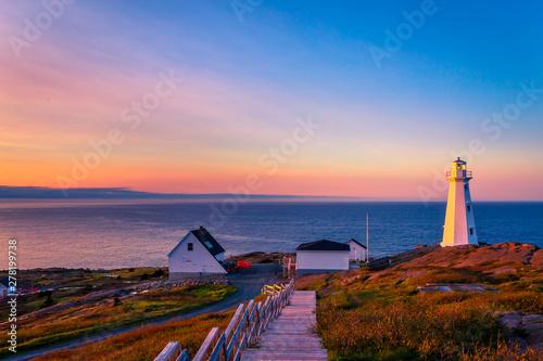 Foto auf Gartenposter Altes Gebaude View of Cape Spear Lighthouse at Newfoundland, Canada, during sunset