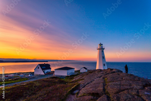 Garden Poster Old building View of Cape Spear Lighthouse at Newfoundland, Canada, during sunset