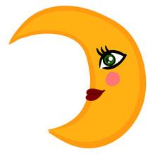 Beauty Yellow Moon, Illustration, Vector On White Background.