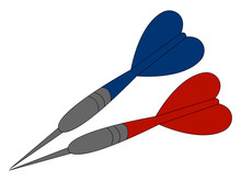 Blue And Red Javelin, Illustration, Vector On White Background.