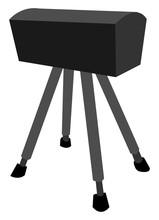 Black Pommel Horse, Illustration, Vector On White Background.