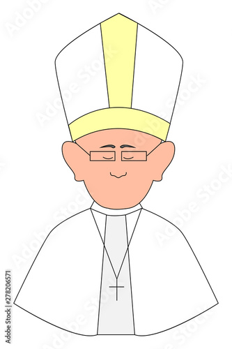 Fényképezés Happy pope with glasses, illustration, vector on white background