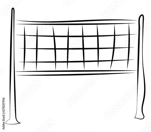 Cuadros en Lienzo Volleyball net drawing, illustration, vector on white background.